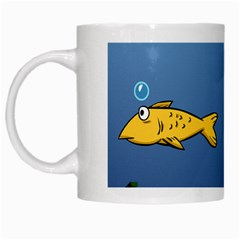 Water Bubbles Fish Seaworld Blue White Mugs by Mariart