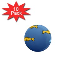 Water Bubbles Fish Seaworld Blue 1  Mini Magnet (10 Pack)  by Mariart