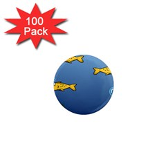 Water Bubbles Fish Seaworld Blue 1  Mini Magnets (100 Pack)  by Mariart