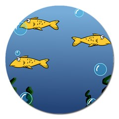 Water Bubbles Fish Seaworld Blue Magnet 5  (round) by Mariart