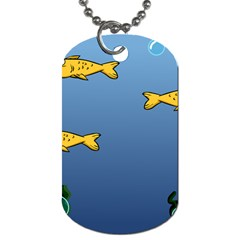 Water Bubbles Fish Seaworld Blue Dog Tag (one Side) by Mariart