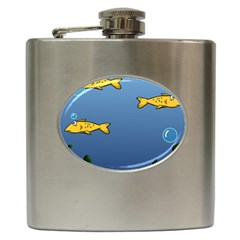 Water Bubbles Fish Seaworld Blue Hip Flask (6 Oz) by Mariart