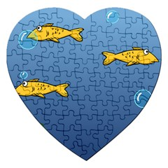 Water Bubbles Fish Seaworld Blue Jigsaw Puzzle (heart) by Mariart