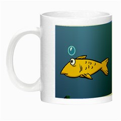 Water Bubbles Fish Seaworld Blue Night Luminous Mugs by Mariart