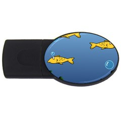Water Bubbles Fish Seaworld Blue Usb Flash Drive Oval (4 Gb) by Mariart