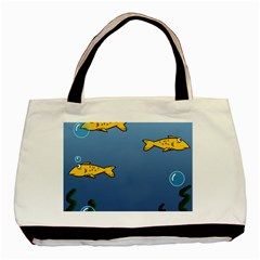 Water Bubbles Fish Seaworld Blue Basic Tote Bag by Mariart
