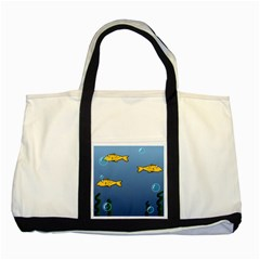 Water Bubbles Fish Seaworld Blue Two Tone Tote Bag by Mariart