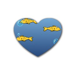 Water Bubbles Fish Seaworld Blue Heart Coaster (4 Pack)  by Mariart