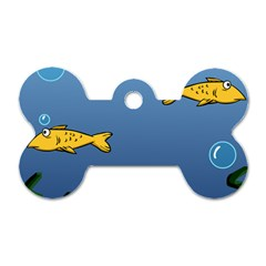 Water Bubbles Fish Seaworld Blue Dog Tag Bone (two Sides) by Mariart