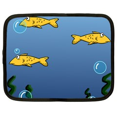 Water Bubbles Fish Seaworld Blue Netbook Case (xxl)  by Mariart