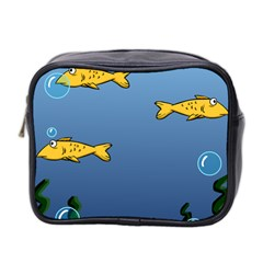 Water Bubbles Fish Seaworld Blue Mini Toiletries Bag 2 Side by Mariart