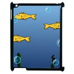 Water Bubbles Fish Seaworld Blue Apple Ipad 2 Case (black) by Mariart