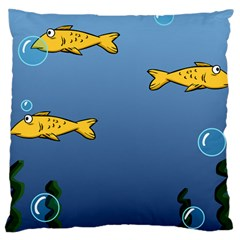 Water Bubbles Fish Seaworld Blue Large Cushion Case (two Sides) by Mariart
