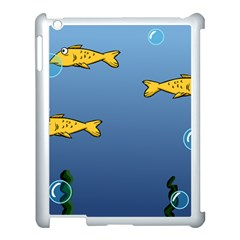 Water Bubbles Fish Seaworld Blue Apple Ipad 3/4 Case (white) by Mariart
