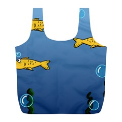 Water Bubbles Fish Seaworld Blue Full Print Recycle Bags (l)  by Mariart