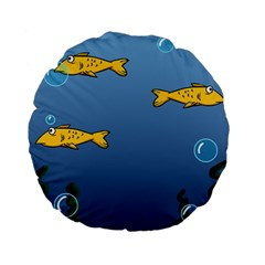 Water Bubbles Fish Seaworld Blue Standard 15  Premium Flano Round Cushions by Mariart