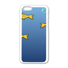 Water Bubbles Fish Seaworld Blue Apple Iphone 6/6s White Enamel Case by Mariart