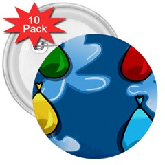 Water Balloon Blue Red Green Yellow Spot 3  Buttons (10 Pack)  by Mariart