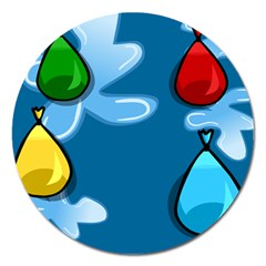 Water Balloon Blue Red Green Yellow Spot Magnet 5  (round) by Mariart