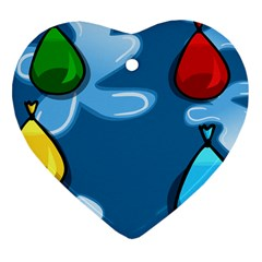Water Balloon Blue Red Green Yellow Spot Heart Ornament (two Sides)