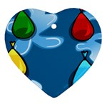 Water Balloon Blue Red Green Yellow Spot Heart Ornament (Two Sides) Back
