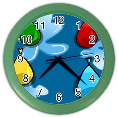 Water Balloon Blue Red Green Yellow Spot Color Wall Clocks by Mariart