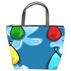 Water Balloon Blue Red Green Yellow Spot Bucket Bags by Mariart