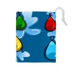 Water Balloon Blue Red Green Yellow Spot Drawstring Pouches (large)  by Mariart