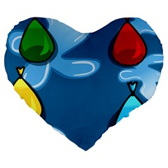 Water Balloon Blue Red Green Yellow Spot Large 19  Premium Flano Heart Shape Cushions by Mariart