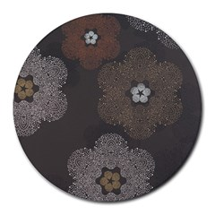 Walls Medallion Floral Grey Polka Round Mousepads by Mariart