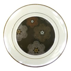 Walls Medallion Floral Grey Polka Porcelain Plates by Mariart