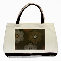 Walls Medallion Floral Grey Polka Basic Tote Bag by Mariart