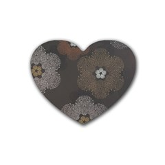 Walls Medallion Floral Grey Polka Heart Coaster (4 Pack)  by Mariart