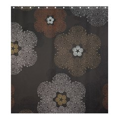 Walls Medallion Floral Grey Polka Shower Curtain 66  X 72  (large)  by Mariart
