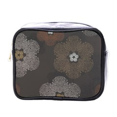 Walls Medallion Floral Grey Polka Mini Toiletries Bags by Mariart