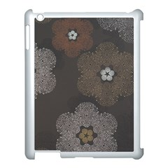 Walls Medallion Floral Grey Polka Apple Ipad 3/4 Case (white) by Mariart