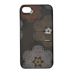 Walls Medallion Floral Grey Polka Apple Iphone 4/4s Hardshell Case With Stand by Mariart