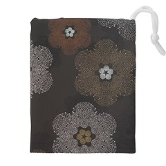 Walls Medallion Floral Grey Polka Drawstring Pouches (xxl) by Mariart