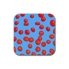 Tomatoes Fruite Slice Red Rubber Square Coaster (4 Pack)  by Mariart