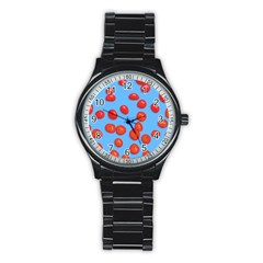 Tomatoes Fruite Slice Red Stainless Steel Round Watch by Mariart