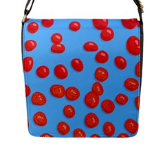Tomatoes Fruite Slice Red Flap Messenger Bag (l)  by Mariart