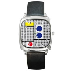 Watermark Circle Polka Dots Black Red Yellow Plaid Square Metal Watch by Mariart
