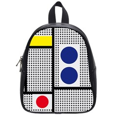Watermark Circle Polka Dots Black Red Yellow Plaid School Bags (small)  by Mariart