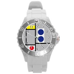 Watermark Circle Polka Dots Black Red Yellow Plaid Round Plastic Sport Watch (l) by Mariart