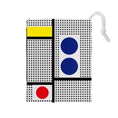 Watermark Circle Polka Dots Black Red Yellow Plaid Drawstring Pouches (large)  by Mariart
