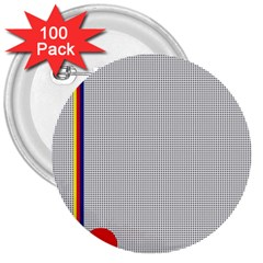 Watermark Circle Polka Dots Black Red 3  Buttons (100 Pack)  by Mariart