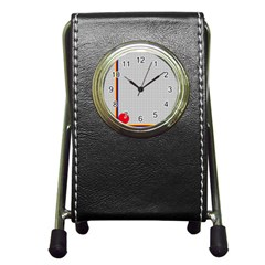 Watermark Circle Polka Dots Black Red Pen Holder Desk Clocks by Mariart