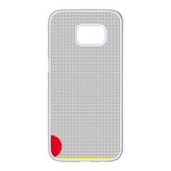 Watermark Circle Polka Dots Black Red Samsung Galaxy S7 Edge White Seamless Case by Mariart