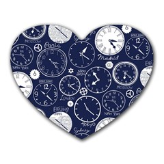 Time World Clocks Heart Mousepads by Mariart