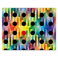 Watermark Circles Squares Polka Dots Rainbow Plaid Rectangular Jigsaw Puzzl by Mariart